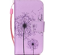 Purple Dandelion Pattern PU Leather Material Flip Card Phone Case for iPhone 4/4S