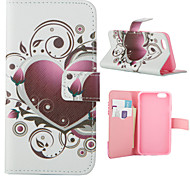 Pink Love Pattern PU Leather Full Body Cover with Stand for iPhone 5/iPhone 5s