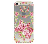 Para Funda iPhone 5 Transparente / Diseños / En Relieve Funda Cubierta Trasera Funda Flor Suave TPU iPhone SE/5s/5