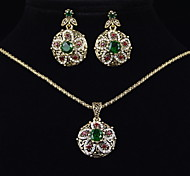 Emerald Palace Retro Luxury Glass Stone Necklace +Earring Jewelry Sets(3pcs)