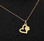 European  fashion personality titanium steel gold pattern necklace 4- heart   Wedding / Party / Daily / Casual 1pc