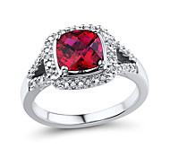 Women's Classic Sterling Silver set with Created Ruby and Natural Diamond Ring