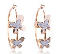Korean Fashion Glitter Butterfly Hoop Earrings