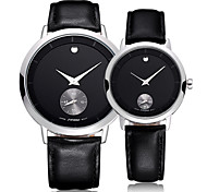 SINOBI® Lovers' Watches 5ATM Waterproof Silver Case Black Genuine Leather Strap Watches Cool Watches Unique Watches