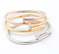 Classic Nail Shape High Quality Titaniun Steel Gold Plating Bangle