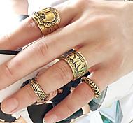 European Style Fashion Punk Retro Carved Elephant Ring Set