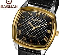EASMAN Men's Dress Sapphire Dial Casual Tonneau Shape Genuine Leather Quartz Movement Wristwatch