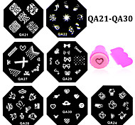 10pcs QA Nail Art Stamping Plate Set Stainless Steel Image Stencil Polish Print Nail Beauty Stamp Template(QA21-QA30)