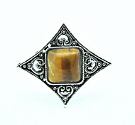 Vintage Look Antique Silver Natural Amethyst Tiger Stone Turquoise Adjustable Free Size Ring(1PC)