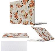 """2 em 1 flor capa de plástico rígido para MacBook Pro 13 """"/ 15"""" + tampa do teclado transparente"""
