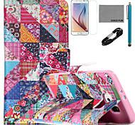 Coco flor fun® verifica padrão de capa de couro pu com cabo usb v8, flim, caneta e stand para Samsung Galaxy S6 borda