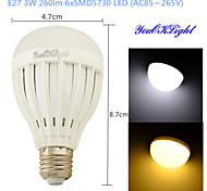 youoklight® 1PCS E27 3W 6*SMD5730 260LM White/ Warm White Light LED Energy saving High quality Globe Bulbs (AC85~265V)