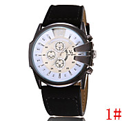 Men's Casual Leather Sports Series Three Large Dial Quartz Watch