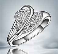 2016 Double Circle Heart Noble Sterling Silver Zircon Party  Band Ring For Women