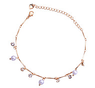 Korean Delicate Pearls And Rhinestones Bamboo Joint Chain Anklet