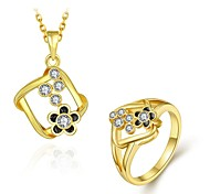 Fashion Diamond Geometry With Flower Jewelry Gold-Plating Twinset(Gold,Rose Gold,White)(2pcs)