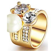 Real gold plating crystal ring
