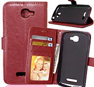 PU cuir carte portefeuille titulaire reposer le couvercle rabattable avec étui de cadre photo pour Alcatel féroces 2 7040t (couleurs