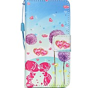 The New Purple Flowers Lanyard PU Leather Material Flip Card Cell Phone for iPod Touch 5/6