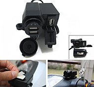 Motorcycle Car USB Charger With Dual USB Socket Handlebar Mount Adapter for  iPhone6 6S iPad iPod GPS