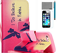 LEXY® Fairies Pattern PU Full Body Leather Case with Screen Protector and Stylus for iPhone 5C
