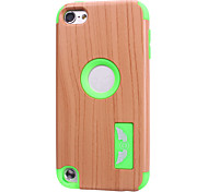 Wood Grain patterns High Quality Snap-on PC + Silicone Hybrid Combo Armor Case Cover for iPod touch 5(Assorted Color)