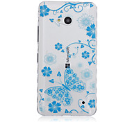 Blue Butterfly Pattern Transparent TPU Soft Case for Nokia 640