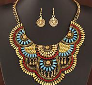 Ensemble de bijoux Gemme Résine Alliage Bijoux de déclaration Mode Bijoux de Luxe Argent Doré Soirée Quotidien Décontracté 1setColliers