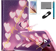Coco fun® padrão coração brilhante estojo de couro pu com cabo usb v8, flim, caneta e stand para Samsung Galaxy S6 borda