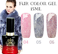 1PCS KOUYI Fur Color Gel 12Colors 15ml Long Lasting Nail Polish 4-6