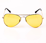 Night Vision Metal Frame Yellow Lens Aviator Polarized Sunglasses