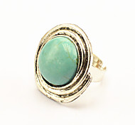 Vintage Look Antique Silver Plated Round Turquoise Stone Adjustable Free Size Ring(1PC)