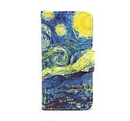 Для Кейс для iPhone 5 Бумажник для карт / со стендом Кейс для Чехол Кейс для Панорама города Твердый Искусственная кожа iPhone SE/5s/5