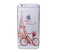 Bike in front of Eiffel Tower Diamond Pattern TPU Back Case for iPhone 6 Plus / 6s Plus