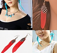 Earring Drop Earrings Jewelry Women Wedding / Party / Daily / Casual Feather 1set Dark Blue / Rose