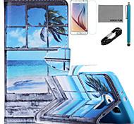 padrão de janela estojo de couro de coco fun® pu com cabo usb v8, flim, caneta e stand para Samsung Galaxy S6 borda