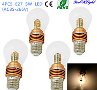 youoklight® 4PCS E27 5W 25*SMD2835 460LM Warm White Light LED High-end&Luxury &High quality Globe Bulbs (AC85~265V)