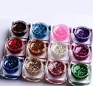 12pcs mischte Farbe die reine Farbe UVerbauer-Gel UV-Farbengelpolier Satz Nagelkunstdekoration (8 ml)