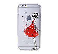 Latest Red Dress Pattern Swarovski Diamond High Quality Laser Relief Touch Phone Case for iPhone 6plus / 6S plus