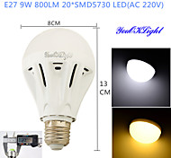 YouOKLight® 1PCS E27 9W 20*SMD5730 800LM White/ Warm White Light LED Energy saving High quality Globe Bulbs (AC 220V)