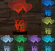 Visual 3D LOVE Model Mood Atmosphere LED Decoration USB Table Lamp Colorful Gift Night Light