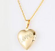 Fashion Heart Shape Opening Parts Golden Alloy Pendant Necklace(1 Pc)