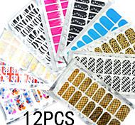 12x16PCS Mixed Metal Full Nail Stickers 15x8.5CM