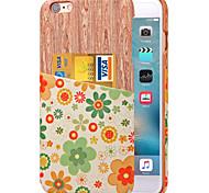 karzea ™ modèle de fleur verte cuir PU cas de couverture arrière avec porte-cartes pour iPhone 6plus / 6splus