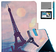 LEXY® Pink Sky Eiffel Pattern PU Leather Flip Stand Case with Screen Protector and Stylus for iPad Mini 1/2/3