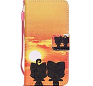 The New Sunset kitten Lanyard PU Leather Material Flip Card Cell Phone for iPod Touch 5/6
