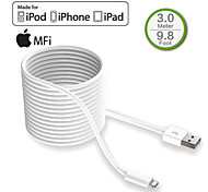 HXINH MFi Certified Lightning to USB 2.0 Charger & SYNC 3 Meter  Cable, for iphone5 6 6s plus,iPad air mini pro,White