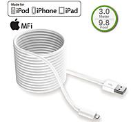 hxinh mfi foudre certifié USB 2.0 Chargeur&synchroniser câble de 3 mètres, pour iPhone5 6 6s Plus, Mini iPad d'air pro, blanc