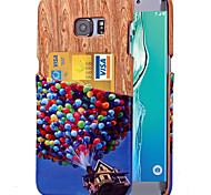 karzea ™ padrão balão colorido pu couro de volta caso capa com suporte de cartão para Samsung Galaxy S6 / S6 borda / beira S6 mais