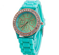 Women's Watch Fashion Gold Diamante Case Candy Color Silicone Band